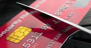 Credit card being cut