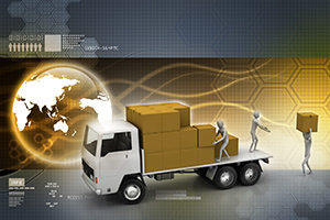 Supply chain logistics illustrated by global transport.